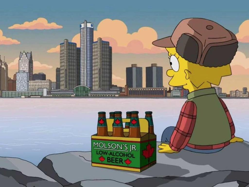 Lisa Simpson contemple Detroit à partir de Windsor.
