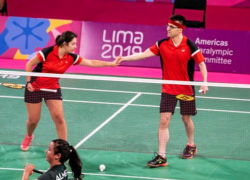 Lima, Peru -  28/August/2019 -  Olivia Meier and Pascal Lapointe compete in doubles badminton at the Parapan Am Games in Lima, Peru. Photo: Dave Holland/Canadian Paralympic Committee.