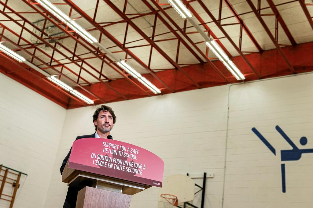 Prime Minister Justin Trudeau makes an announcement at Yorkwoods Public School, in Toronto, Ont., on Wednesday, Aug., 26, 2020. THE CANADIAN PRESS/Christopher Katsarov