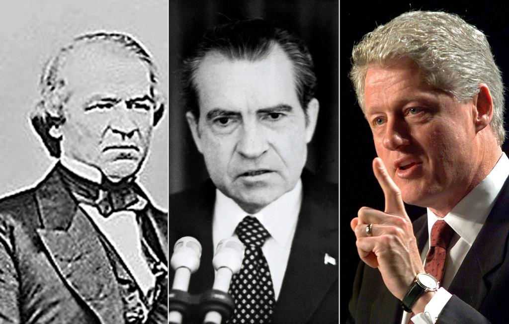 Les présidents Andrew Johnson (vers 1860-1865), Richard Nixon (1973) et Bill Clinton (1998)