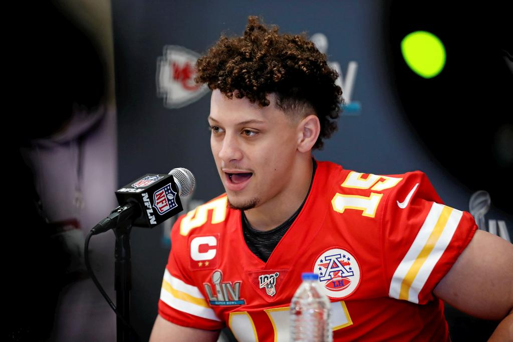 Kansas City Chiefs quarterback Patrick Mahomes (15) speaks during a news conference on Tuesday, Jan. 28, 2020, in Aventura, Fla., for NFL Super Bowl 54 football game.