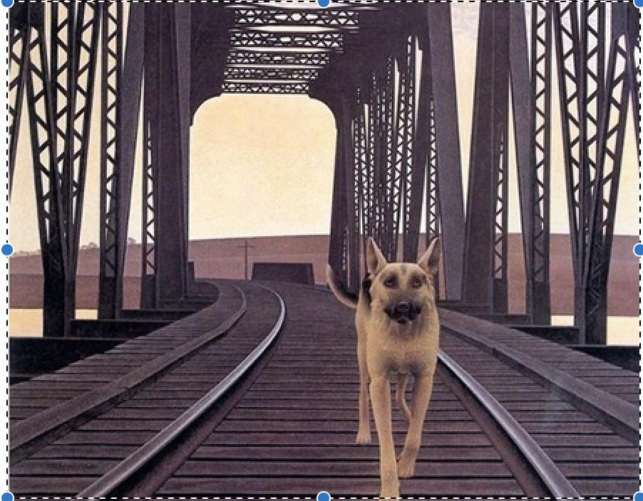 <em>Dog and Bridge</em> (1976) d'Alex Colville