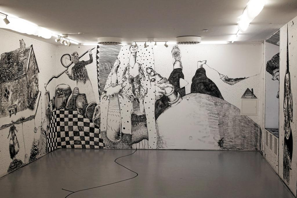 Sebastian Mugge, How To Get More Likes In God´s Own Country, 2017, dessin sur le mur