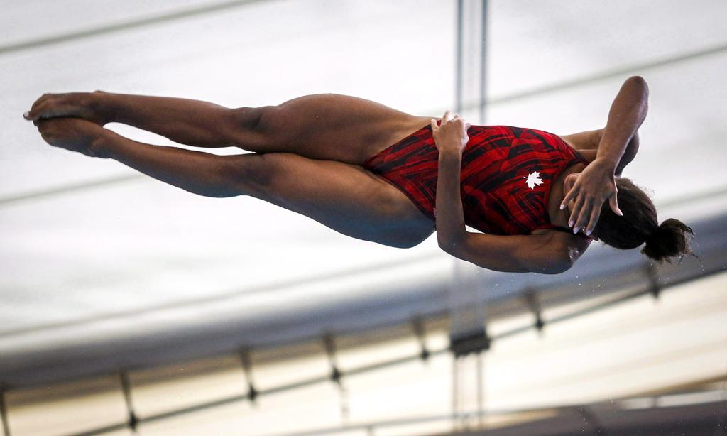 Canada's Jennifer Abel, competes during the women's open three-metre finals event at the Canada Cup FINA Diving Grand Prix in Calgary on May 12, 2018. THE CANADIAN PRESS/Jeff McIntosh