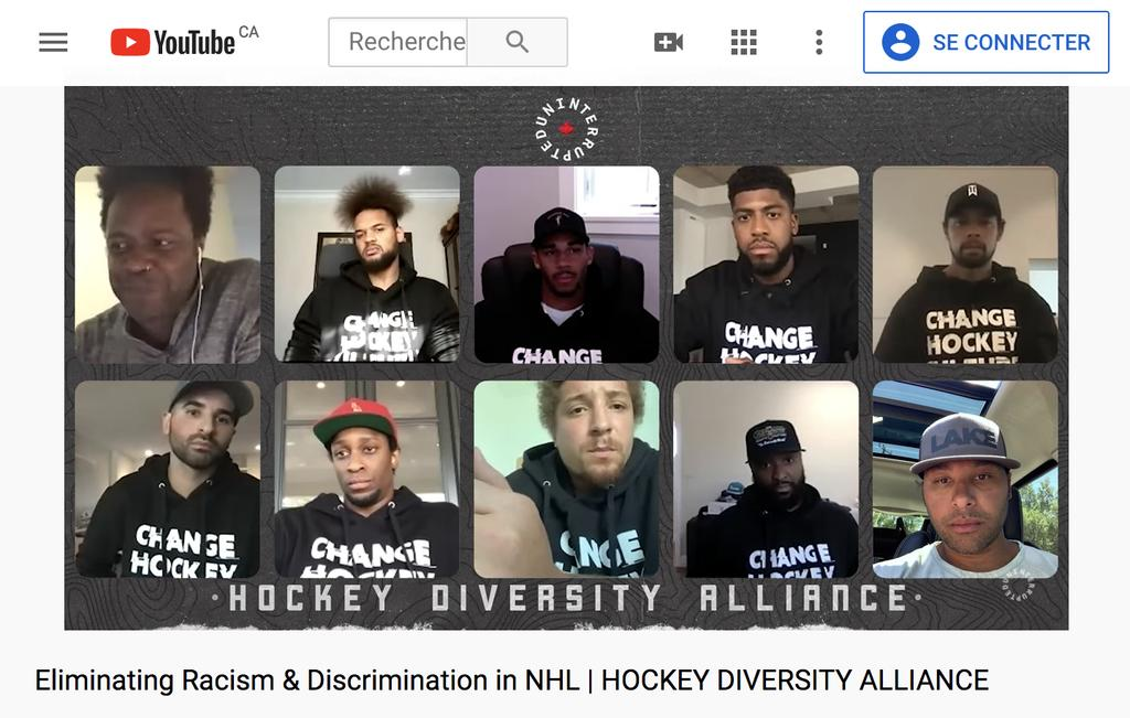 Le cinéaste Charles Officer, Akim Aliu, Evander Kane, Anthony Duclair, Matt Dumba, Nazem Kadri, Wayne Simmonds, Anthony Stewart, Joel Ward et Trevor Daley.