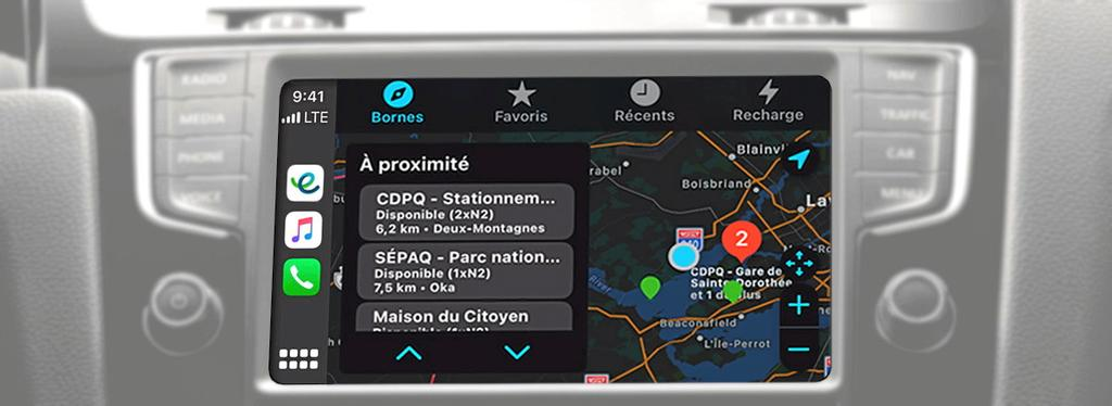 L'application mobile du Circuit électrique visible sur Apple CarPlay