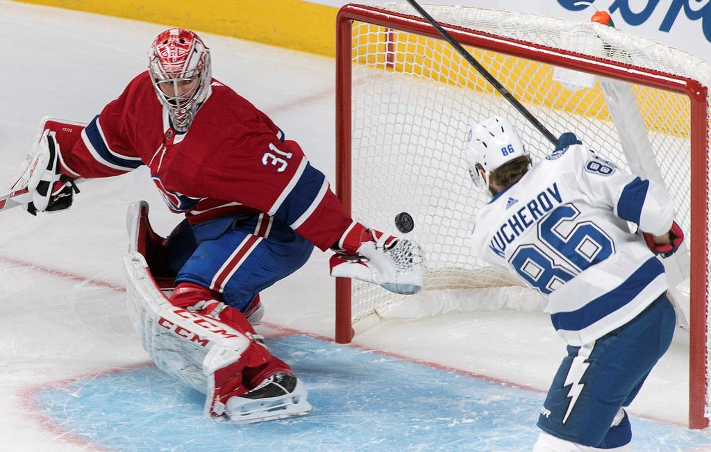 Montreal Canadiens goaltender Carey Price is scored on by Tampa Bay Lightning's Nikita Kucherov during first period NHL hockey action in Montreal, Thursday, Jan. 2, 2020. THE CANADIAN PRESS/Graham Hughes