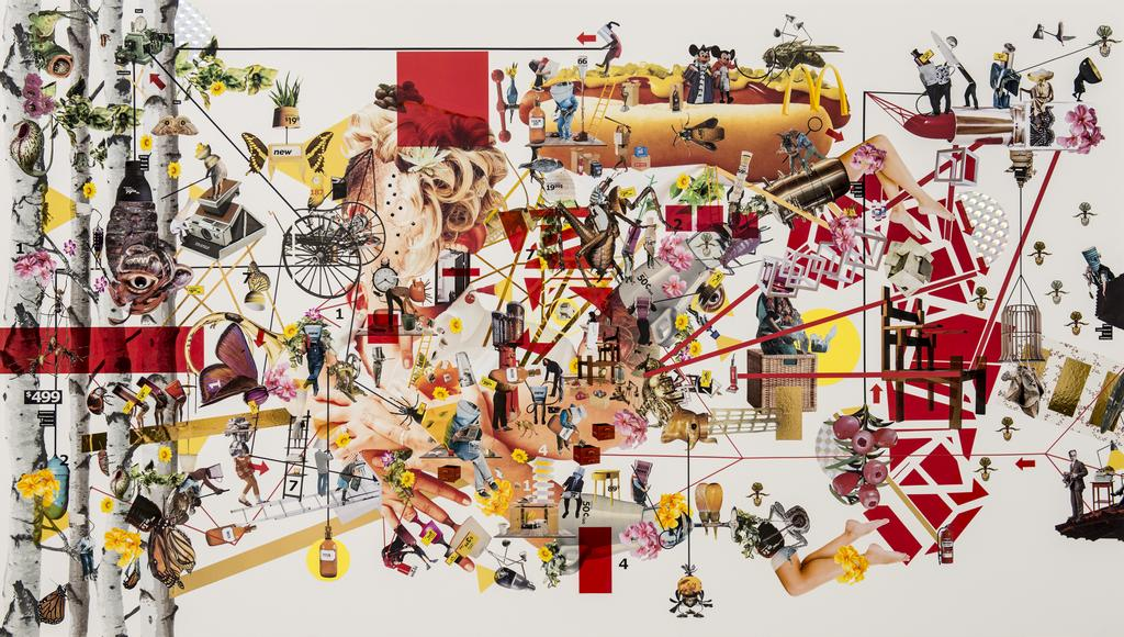 «The Garden of Earthly Delights III» de Juan Ortiz-Apuy, collage, 246 x 126 cm, 3750$