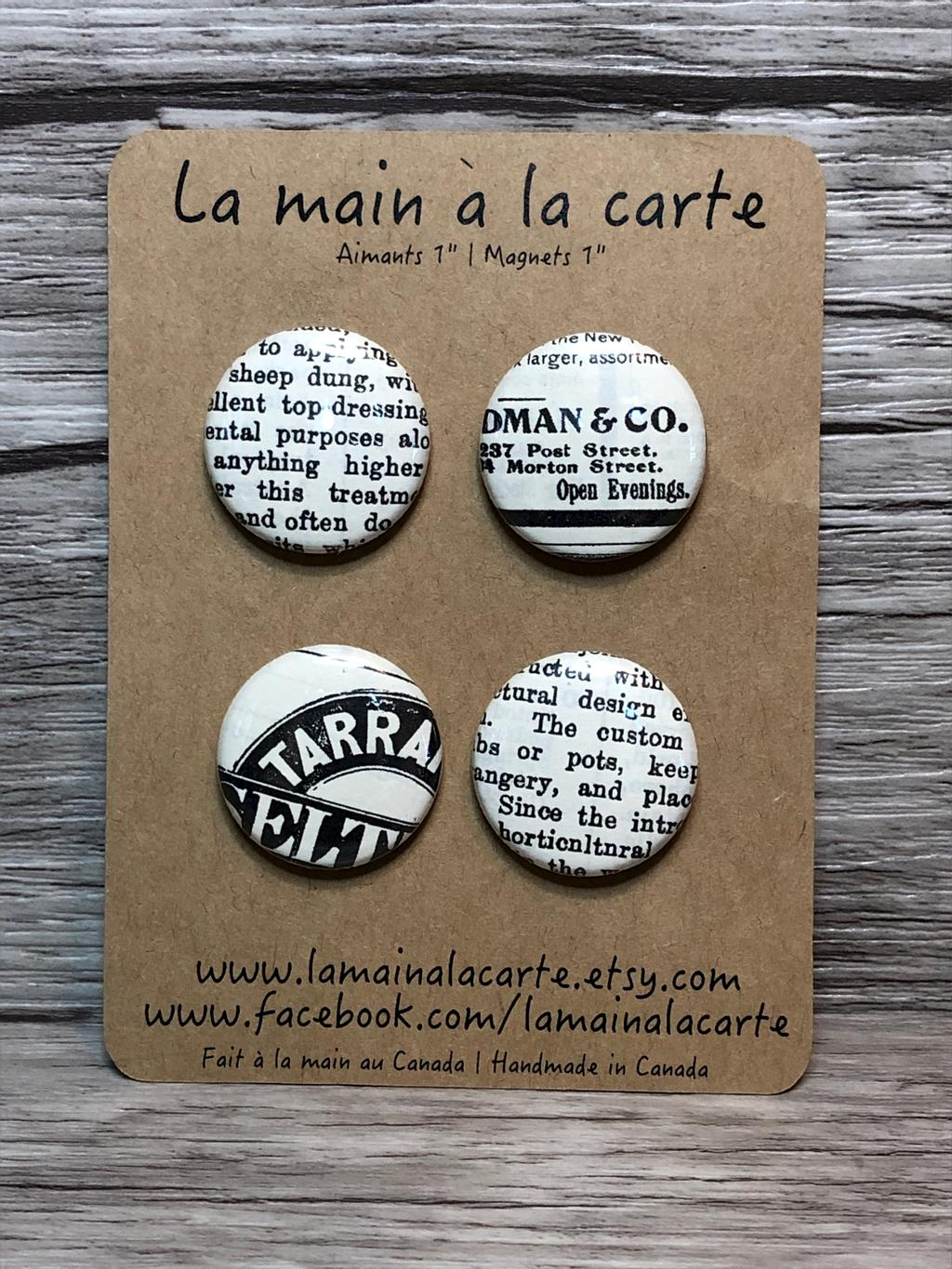 Aimants Journal, ensemble de 2 ou de 4, 5$ et 8$ par La main à la carte sur Etsy