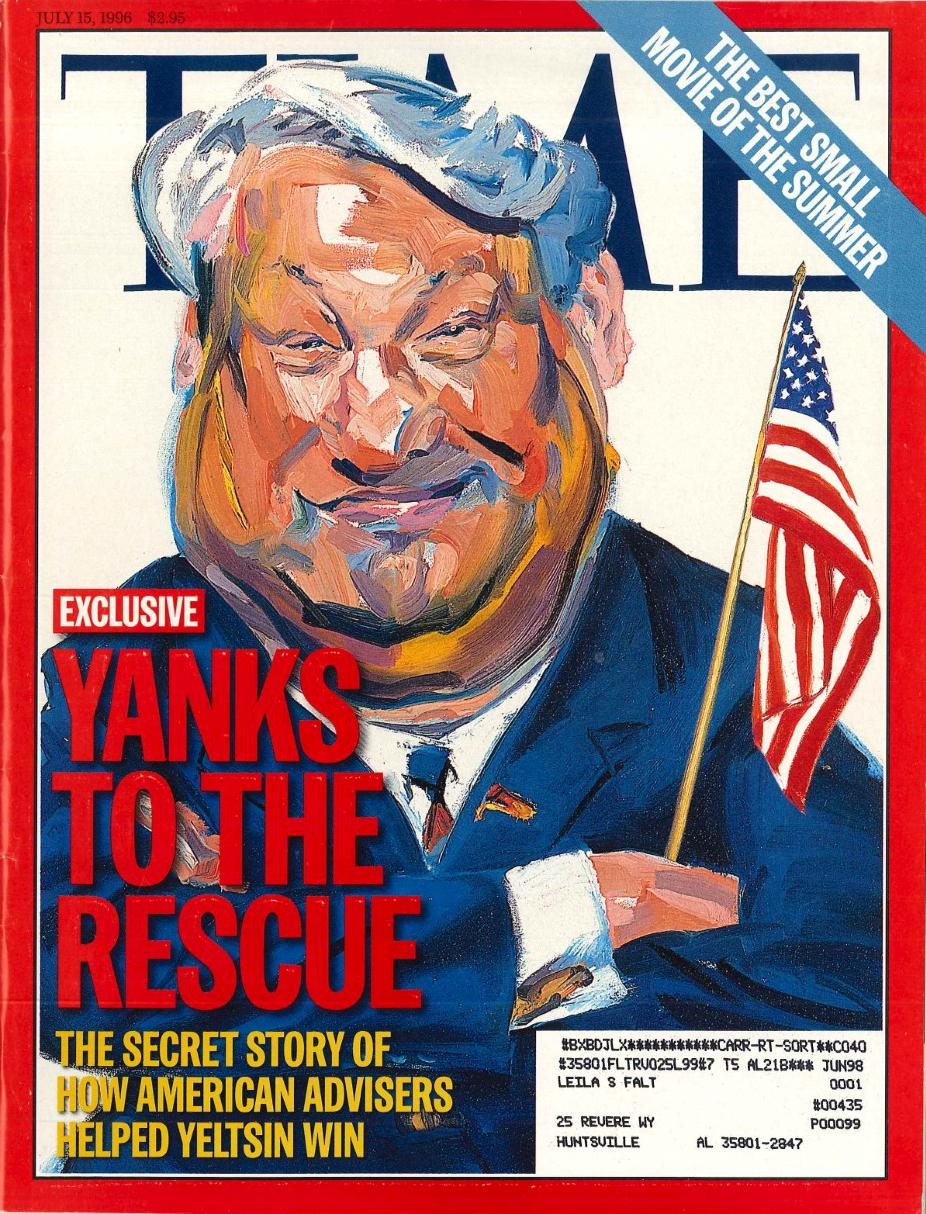 Yanks to the Rescue : The Secret Story of How American Advisers helped Yeltsin Win, Time, 15 juillet 1996.