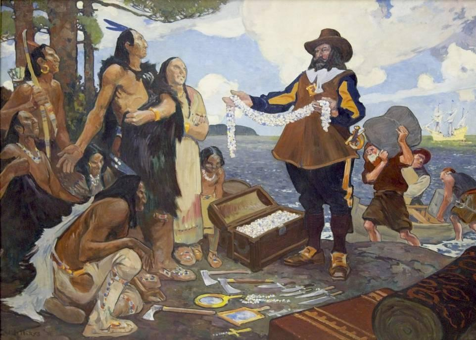 Charles William Jefferys, <i>Champlain Trading with the Indians</i>, 1911. Bibliothèque et Archives Canada