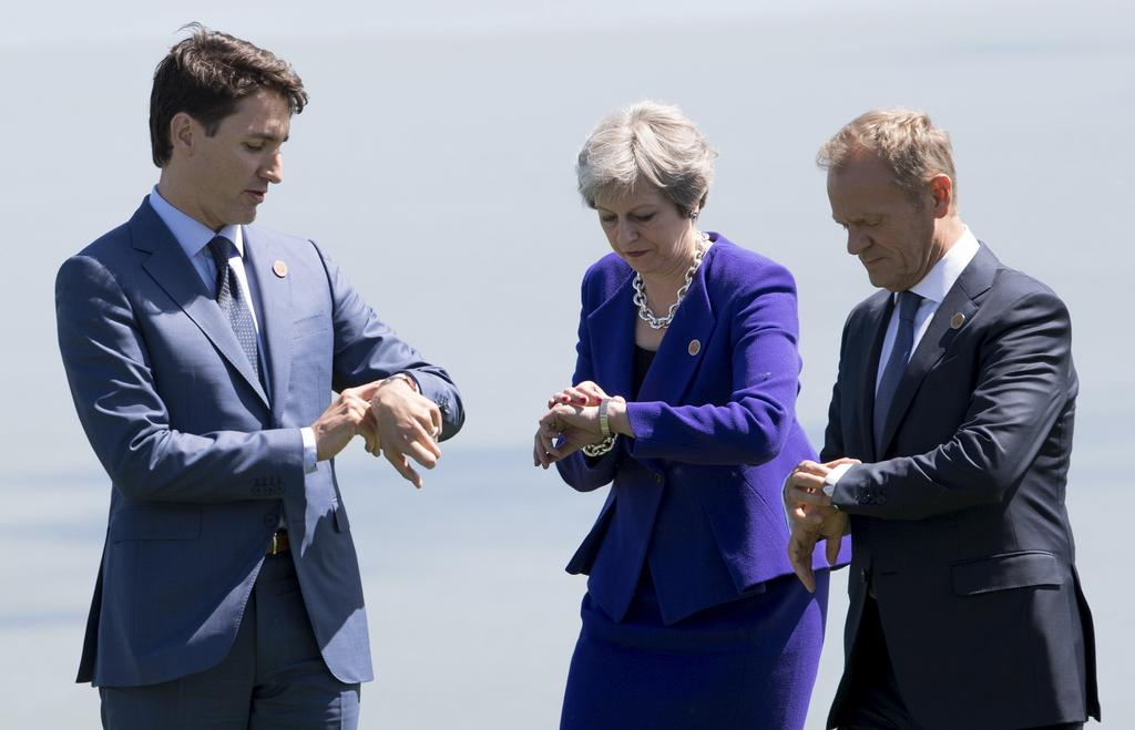 Justin Trudeau, Theresa May et Donald Tusk