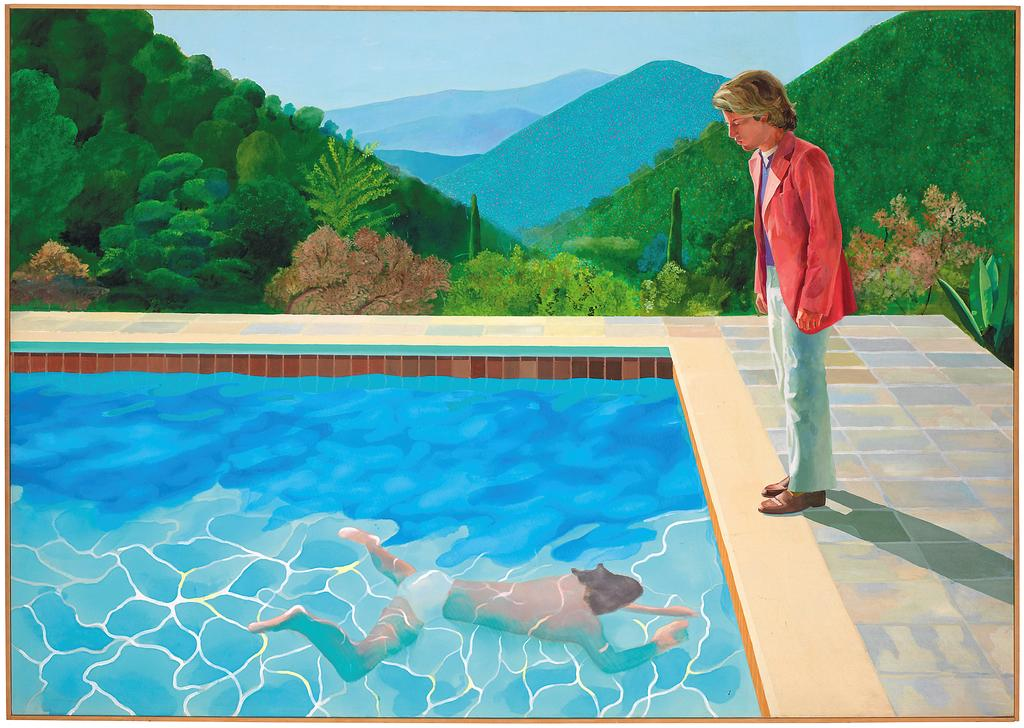 """This undated photo provided by Christie's Images Ltd. 2018, shows a painting by David Hockney entitled """"Portrait of an Artist (Pool with Two Figures)."""" Christie's expects the painting to set a new record for a work by a living artist sold at auction, in their November 2018 sale. The previous record was held by Jeff Koons' """"Balloon Dog,"""" which sold for $58.4 million in 2013. (Christie's Images Ltd. 2018 via AP)"""