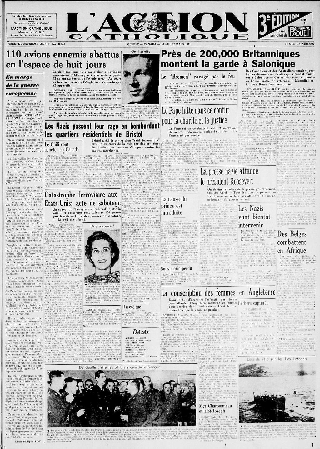 L'Action catholique, 17 mars 1941
